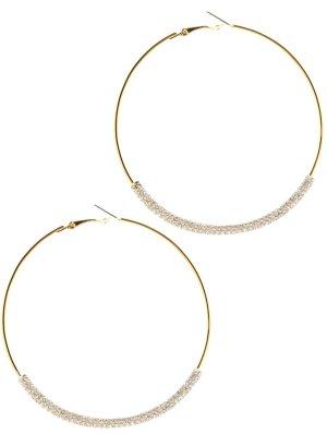Statement Glamour Creolen Gold Kreolen Hoop Ohrringe Kristall Klar Transparent 8cm