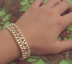 Statement gold Armband, creme Band, silber Straßsteine, Blogger, Zara, NEU