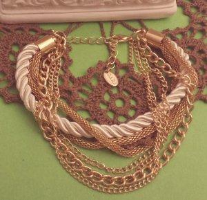 Statement gold Armband, Schlangenkette, weiß/creme Band, Blogger, Zara, NEU