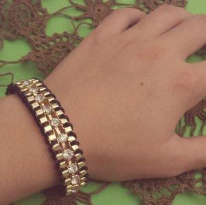Statement gold Armband, schwarz Band, silber Straßsteine, Blogger, Zara, NEU