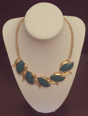 Statement gold Blätterkette, dunkelblau Steine, petrol, Blogger, Zara