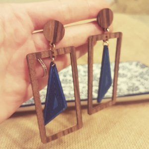 Statement gold geometrische Zara Ohrringe, braun -blau Holzohhringe, Vintage, NEU