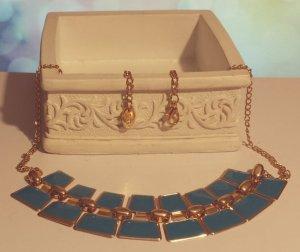 Statement gold Gliederkette, blau, verstellbar, Blogger, Zara