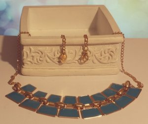 Statement gold Gliederkette, blau, verstellbar, Blogger, Zara