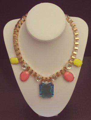 Statement gold Gliederkette, pink blau gelb Steine, verstellbar, Blogger, Zara