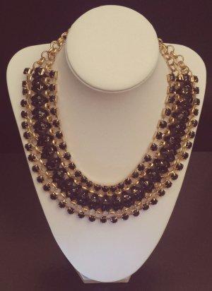 Statement gold Gliederkette, schwarz Steine, mit Bändern verflechtet, Zara