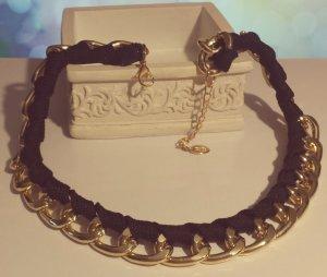 Statement gold Gliederkette, schwarz Stoff, verstellbar, Zara