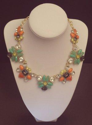 Statement gold Kette, türkis orange gelb grau silber Steine, Blumen Collier Zara