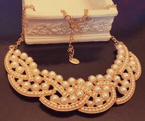 Statement gold Kragenkette, Perlen, rund, verflechtet, elegant, Zara, Neu