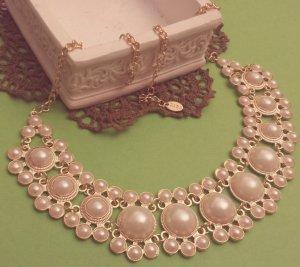 Statement gold Perlenkette, creme Steine, rund, Blogger, Zara, NEU
