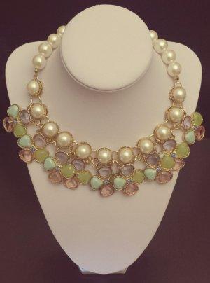 Statement gold Perlenkette, nude, grün blau rosa türkis Steine, Blumen, Zara