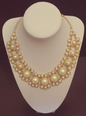 Statement gold Perlenkette, rund, creme Steine, Blogger, Zara, NEU