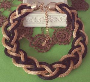 Statement gold schwarz geflechtete Kette, Schlangenkette, Blogger, Zara, NEU