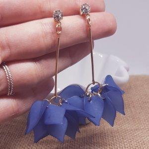 Statement gold Zara Ohrringe, blau Blätter, Blumenesign, silber Straßstein, Ohrhänger, NEU