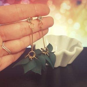 Statement gold Zara Ohrringe, grün Blätter, Blumenesign, silber Straßstein, Ohrhänger, NEU
