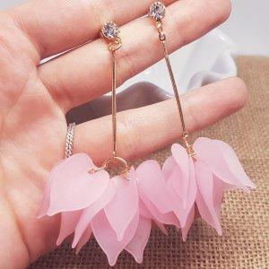 Statement gold Zara Ohrringe, rosa Blätter, Blumenesign, silber Straßstein, Ohrhänger, NEU