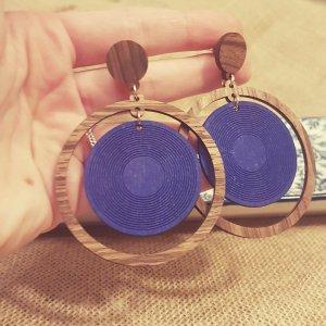 Statement gold Zara Ohrringe, runde braun -blau Holzohhringe, Vintage, NEU