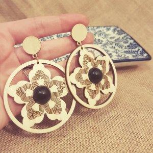 Statement gold Zara Ohrringe, runde braun -schwarz Holzohhringe, Vintage, Blumendesign, NEU