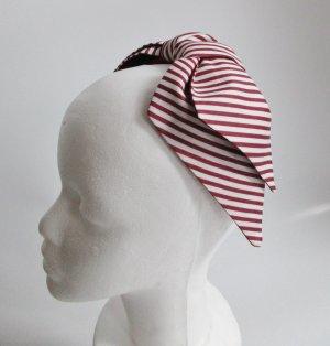 Statement Half Hat Große Schleife Headpiece Fascinator Streifen Weiß Rot Marvelous Maritim 40er 50er Rockabilly Retro Kopfschmuck Hut