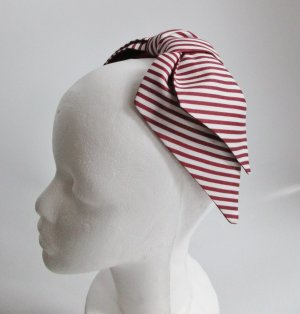 Floppy Hat white-dark red cotton