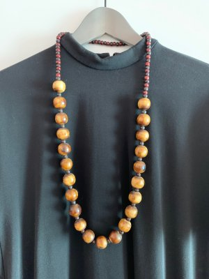 Statement Necklace dark brown-oatmeal wood