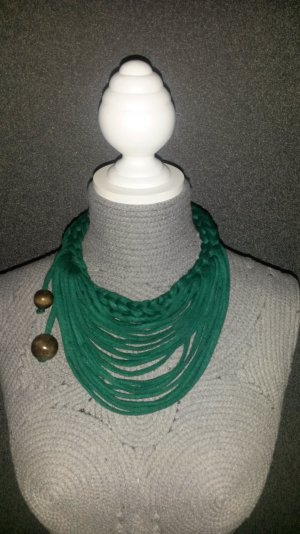 Necklace forest green-brown cotton