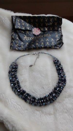 Statement Kette blau silber Accessorize mit Geschenktüte