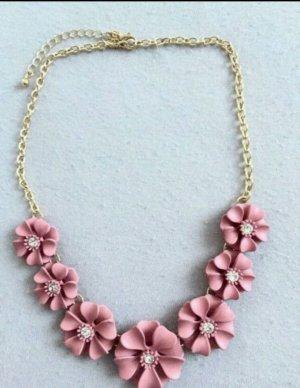 Statement kette Blumen rosa gold Modeschmuck