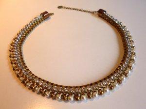 Statement Kette Collier - elegant, goldfarben mit Perlen