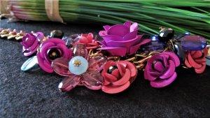 ⭐Statement Kette⭐ Collier Kristall-Blumen NEU NP 59,95€ ! MAGENTA/PINK