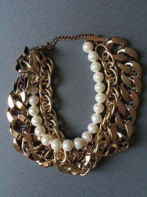 Statement Kette Gold mit Perlen