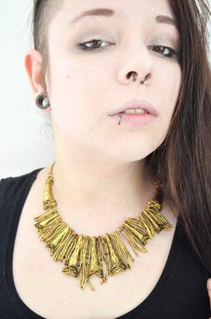 Statement Kette Gold Used Look Wire Altgold Grunge Punk Steampunk Rockig