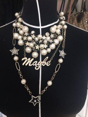 """Statement Kette """"Maybe"""" mit Perlen und Sternen"""