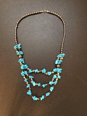 Colliers ras du cou gris foncé-bleu fluo