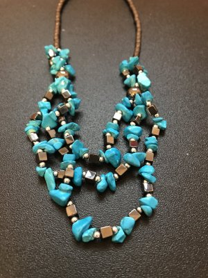 Collier Necklace dark grey-neon blue