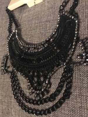 Statement Kette schwarz Halskette mit Strass