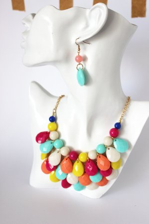 Statement Kette Set Ohrringe Bunt Hippie bunt