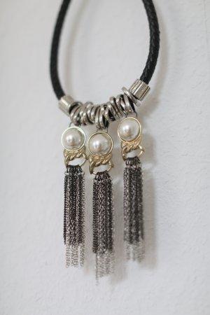 Statement Kette Topshop Gold schwarz mit Perlen XXL Collier Vintage Look