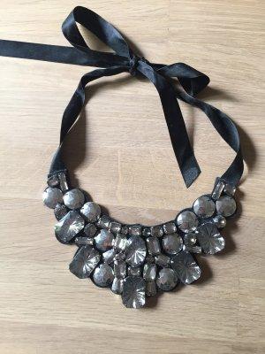 Statement-Kette XL-Halskette Strasssteine Silber
