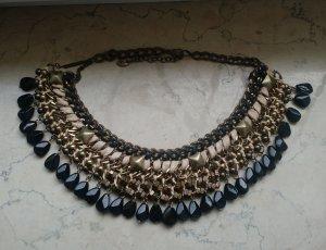 Statement Kette Zara ethno boho braun schwarz necklace modeschmuck schmuck