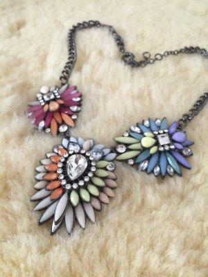 Statement Kette Zara Pastell Nude Mint Choker Hippie Blumen Flowers