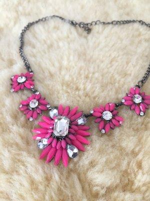 Statement Kette Zara Pink Blumen Flowers Hippie Ethno