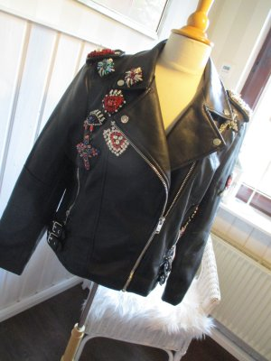 Veste motard noir faux cuir