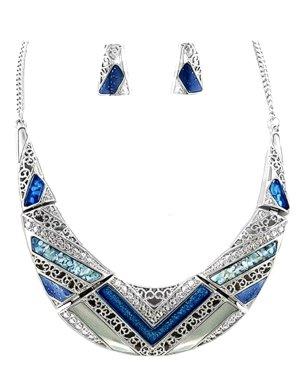 Statement Luxus Schmuckset Kette Set Ohrringe Anhänger Emaille Muschel Silber Grau Blau Töne
