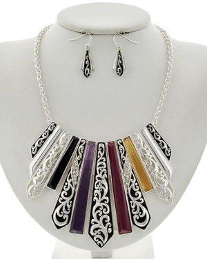 Statement Luxus Schmuckset Set Kette Halskette Ohrringe Anhänger Lasercut Emaille Schwarz Acryl Farbig Kristall Klar Transparent Schwarz Purple Braun Rot Gelb Silber
