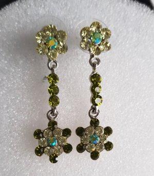 Statement Ohrhänger Ohrstecker Modeschmuck Straßsteine Blüte Grün-blau