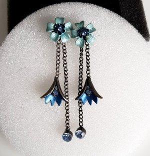 Statement Ohrhänger Ohrstecker Vintage Modeschmuck Blüte Altsilber-blau