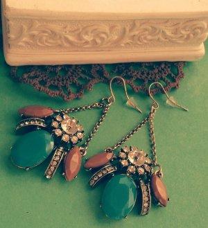 Statement Ohrringe, bronze altgold, blau braun silber Steine, Blogger, Zara, NEU