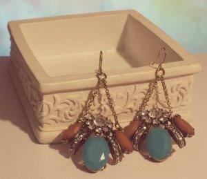 Statement Ohrringe, bronze altgold, blau braun silber Steine, Vintage, Zara