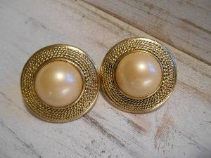Statement Ohrringe Clips goldfarben mit großer (Kunst)Perle